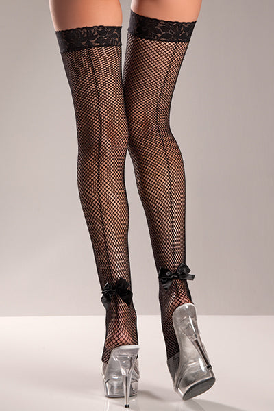 Plus Size Black Lycra Fishnet Thigh Hi with Back Bow