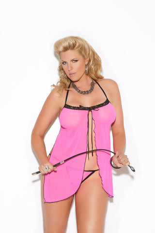 Plus Size Pink Mesh Babydoll and G-String