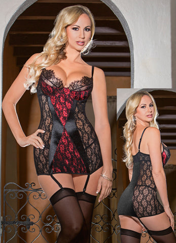 Lace and Satin Gartered Chemise