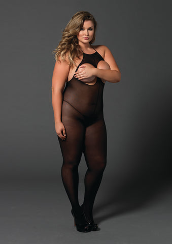 Plus Size Opaque Open Cup Bodystocking