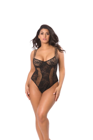 Plus Size Black Unlined Cup Bodysuit