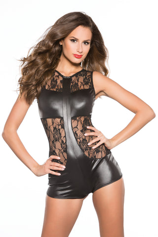 Black Wet Look Sleeveless Romper