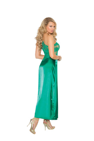Plus Size Jade Lace One Shoulder Gown
