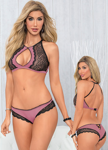 Black and Mauve Keyhole Bra Set