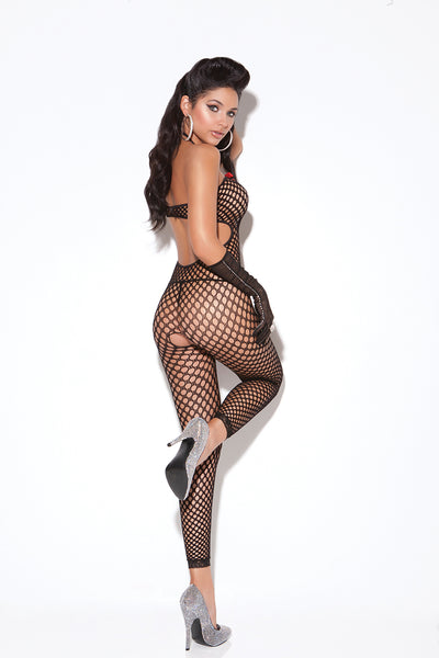 Black Crochet String Neck Tie Bodystocking