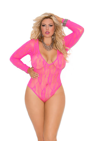 Plus Size Long Sleeve Stretch Lace Deep-V Teddy