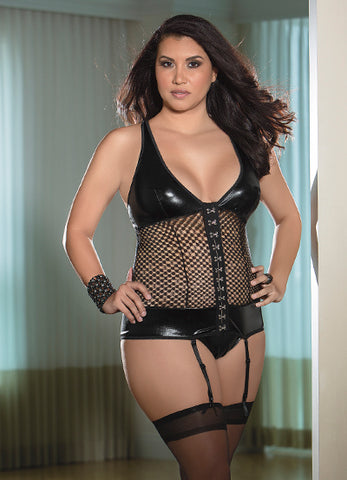 Black Queen Fetish Bustier with Hose