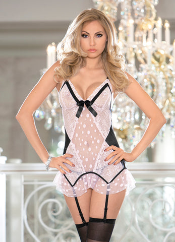 Pink and Black Polka Dot Gartered Bustier