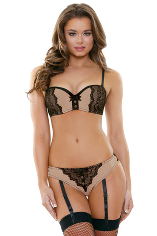 Nude and Black Molded Cup Bra with Gartered Panty