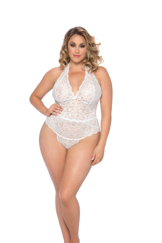 Plus Size Soft Cup Lace Halter Teddy