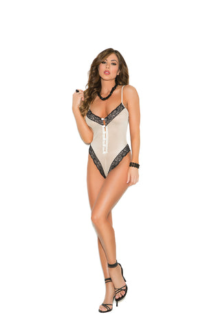 Champagne Mesh Thong Back Teddy