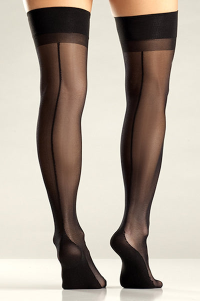 Black Cuban Heel Thigh Hi with Back Seam
