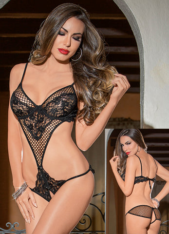 Black Fishnet Lace Teddy
