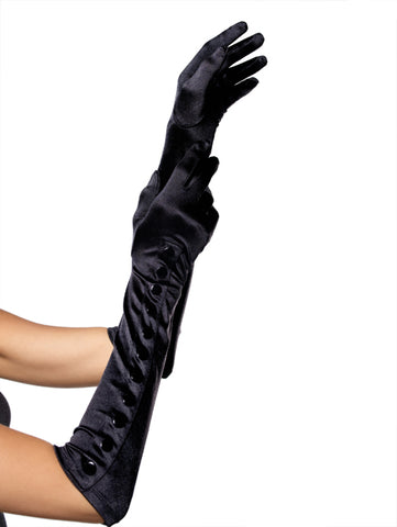 Black Satin Gloves with Snap Button Detail
