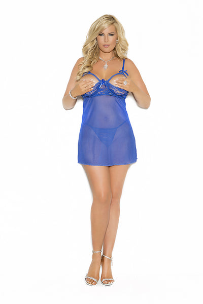 Plus Size Mesh and Lace Cupless Babydoll
