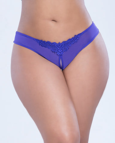 Plus Size Crotchless Thong with Pearls