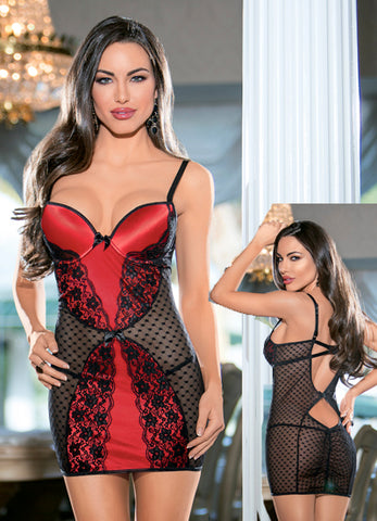 Black and Red Lace Push Up Bra Chemise