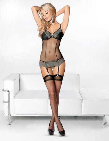 Silver Haze Bustier with Black Hose
