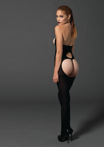 Black Opaque Cupless Cut-Out Bodystocking