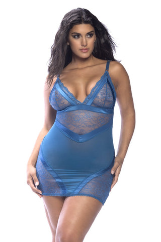 Plus Size Blue Lace Babydoll Set