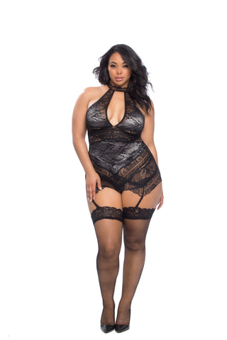 Plus Size Lace Overlay Collared Chemise