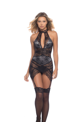 Lace Overlay Collared Chemise