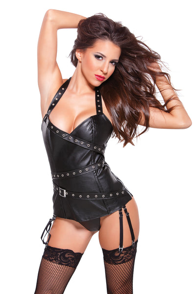 Black Faux Leather Halter Corset
