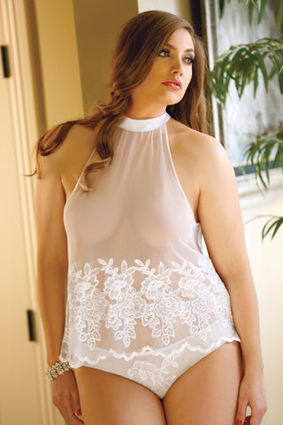 Plus Size Embroidered White Halter Cami and Panty