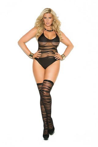 Black Plus Size Wave Pattern Teddy with Stockings