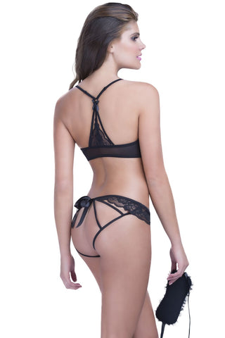 Lace Tie Front Bra, Panty, and Eye Mask