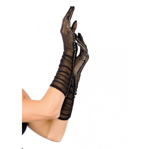 Black Sheer Mesh Ruched Gloves