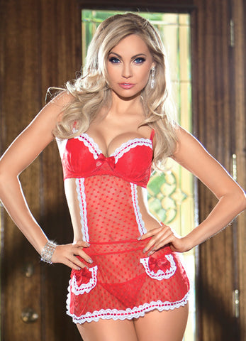 Red Heart Mesh Apron Chemise