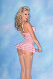Candy Pink Sheer Chemise with Ruffled Trim