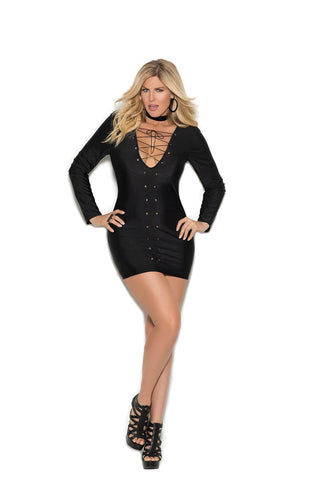 Plus Size Long Sleeve Lycra and Lace Mini Dress