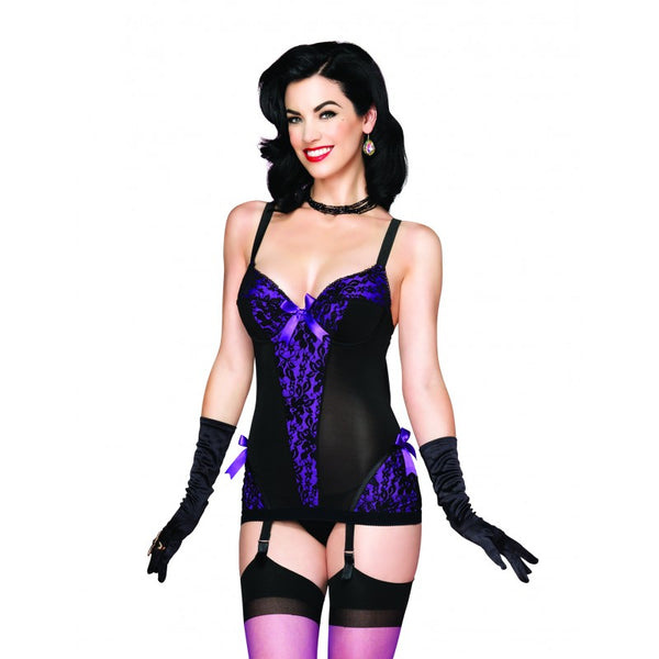 Black and Purple Peek-A-Boo Garter Dress