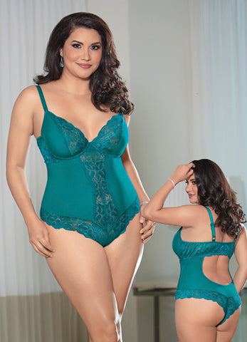 Queen Teal Lace Open Back Teddy