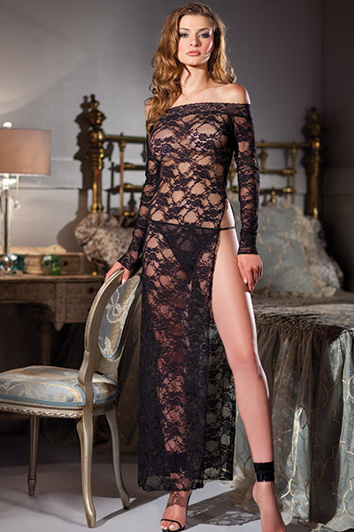 Black Boat Neck Lace Gown