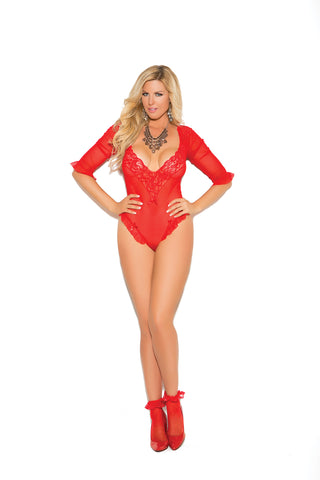 Plus Size Red Teddy with 3/4 Sleeves
