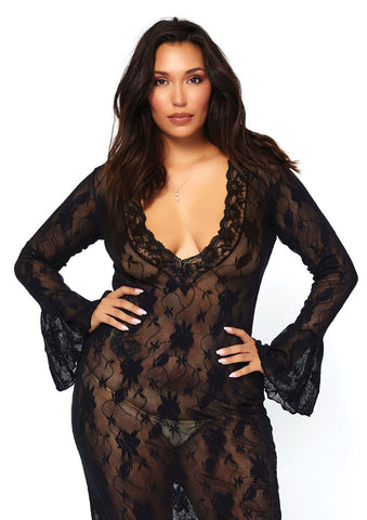 Plus Size Stretch Lace Deep-V Bell Sleeve Dress