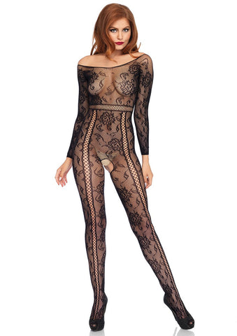 Black Lace Crotchless Bodystocking