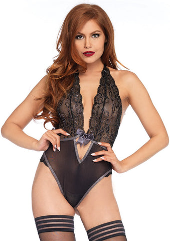 Embroidered Silver Shimmer Lace Teddy