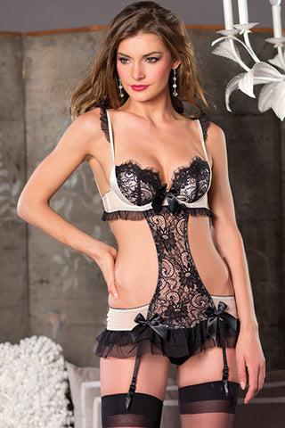Black and Cream Lace Teddy