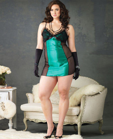 Plus Size Emerald Green Chemise