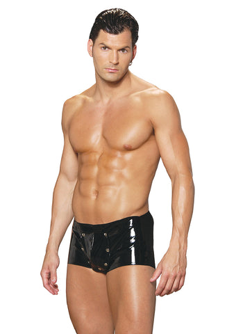 Men's Black Vinyl Shorts