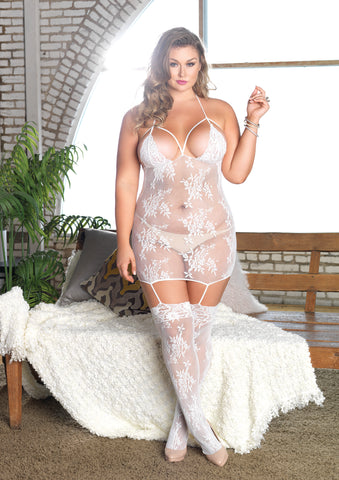 Plus Size Mesh and Lace Cage Suspender Bodystocking