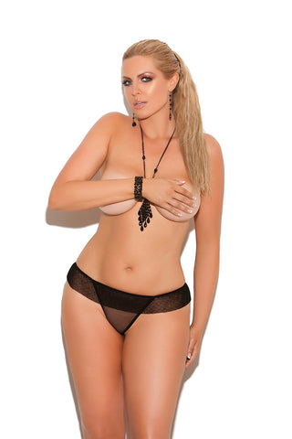 Plus Size Black Ruffled Panty