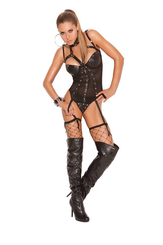 Leather and Fishnet Teddy