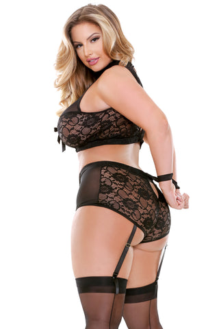 Plus Size Halter Bra Top with Gartered Panty