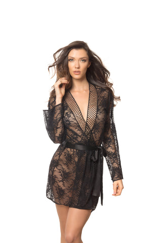 Black Lace Robe with Lattice Trim