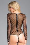 Black Embroidered Polka Dot Bodysuit